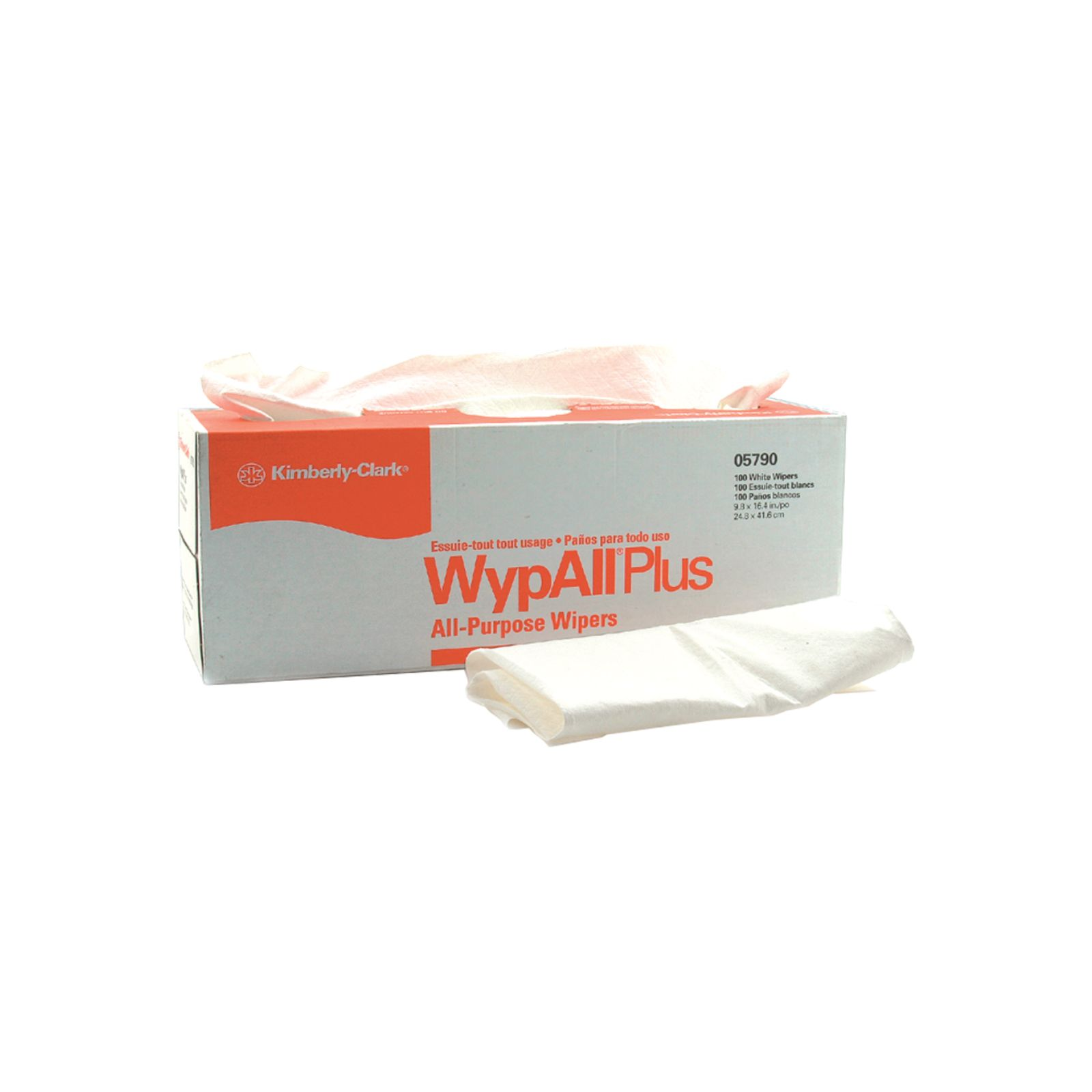 Kimberly-Clark 5-05790 - WypAll Plus Towels - White, Pack of 100""