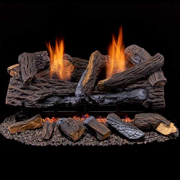 Duluth Forge Vent Free Dual Fuel Log Set - 24 in. Stacked Red Oak - T-Stat Control