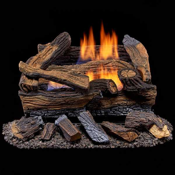 Duluth Forge Ventless Propane Gas Log Set - 18 in. Split Red Oak - Manual Control