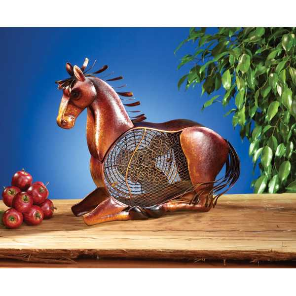 19' Hand Sculpted Stallion Horse Table Top Figure Fan