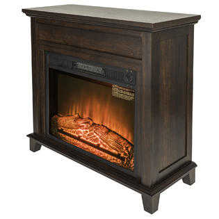 Golden Vantage 32' Freestanding Brown Wood Mantel Electric Fireplace Heater 3D Red Flame w/ Logs