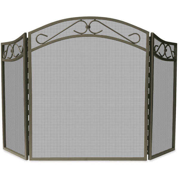 UniFlame 3 Fold Bronze Wrought Iron Arch Top Screen withi Scrolls