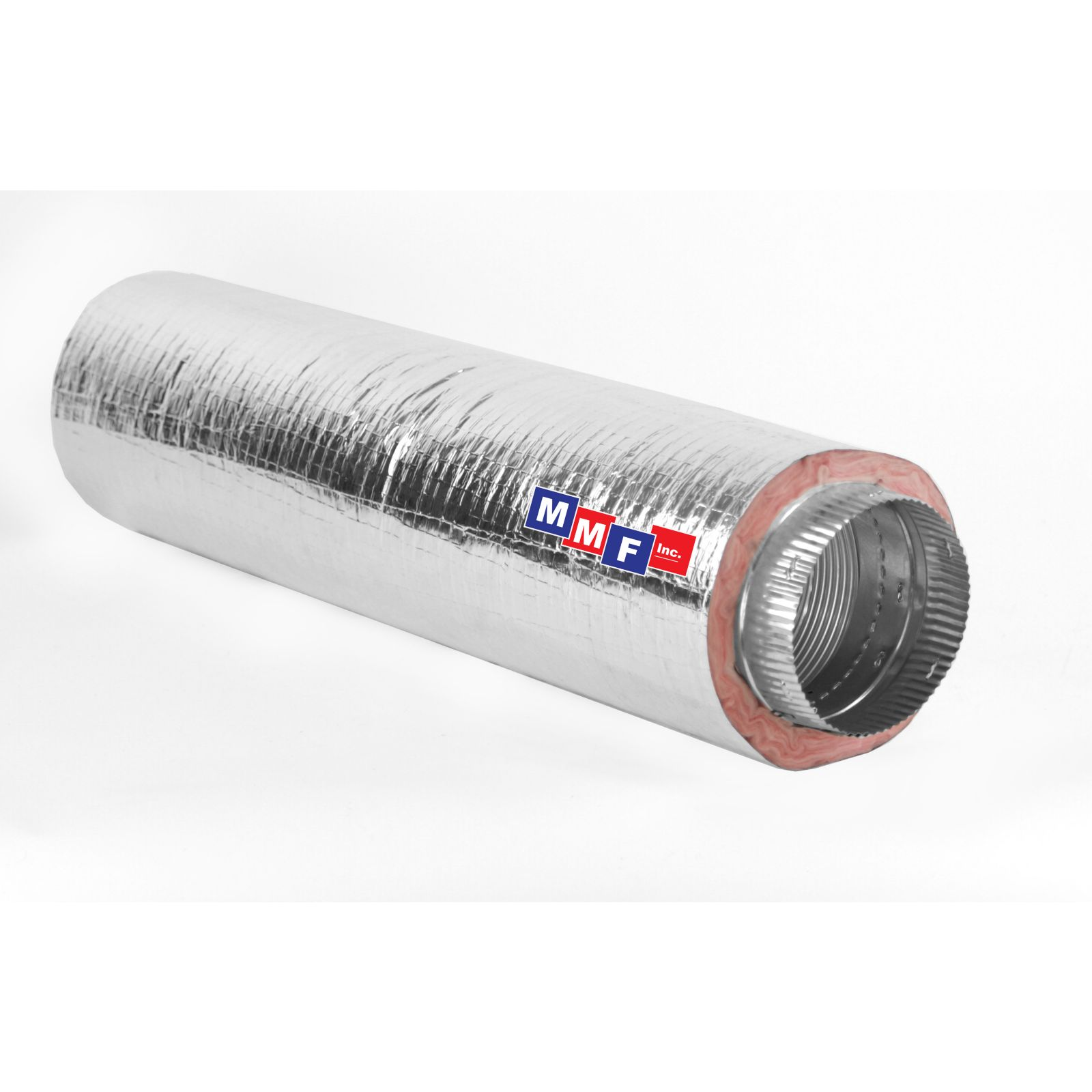 "Modular Metal MFHCM40616 - Aluminum Flex Pipe - (2) Collars 16"" Round X 6' Long - Fiberglass Insulated - Silver Jacket"