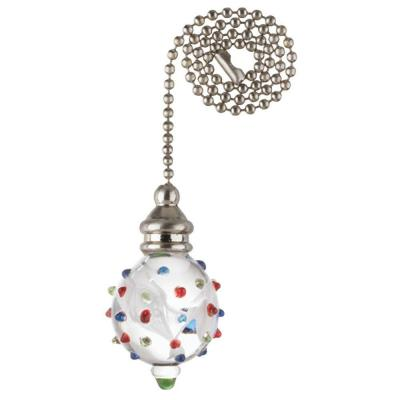 White Swirl Glass Orb with Colored Dots and Nickel Accents Pull Chain
