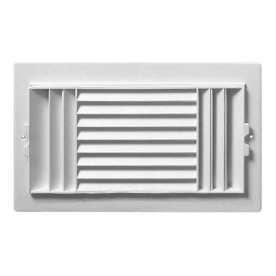 10 in. x 6 in. White Plastic 3-Way Ceiling Register