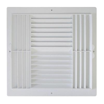12 in. x 12 in. Plastic 4-Way Ceiling Register in White