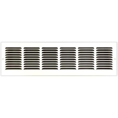 24 in. x 6 in. Base Board Return Air Vent Grille with Fixed Blades, White
